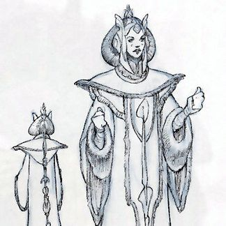 """Costume designer Trisha Biggar said this costume had """"a sort of Chinese Imperial feel."""" (Dressing a Galaxy/Rebel Haven) 