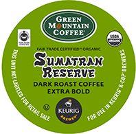 Green Mountain Coffee - Extra Bold Organic Sumatran Reserve K-Cups   K-CUP® COFFEE. Green Mountain Extra Bold Organic Sumatran Reserve K-Cup...