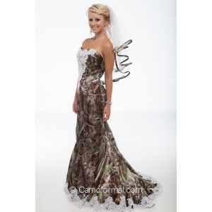 "3887 ""Ellen"" Bridal Mermaid with beaded lace on the front bodice and on the sweep train. Shown in Realtreee APG. Available in all camo patterns in sizes 2-30. Made in the USA by Camo Formal."
