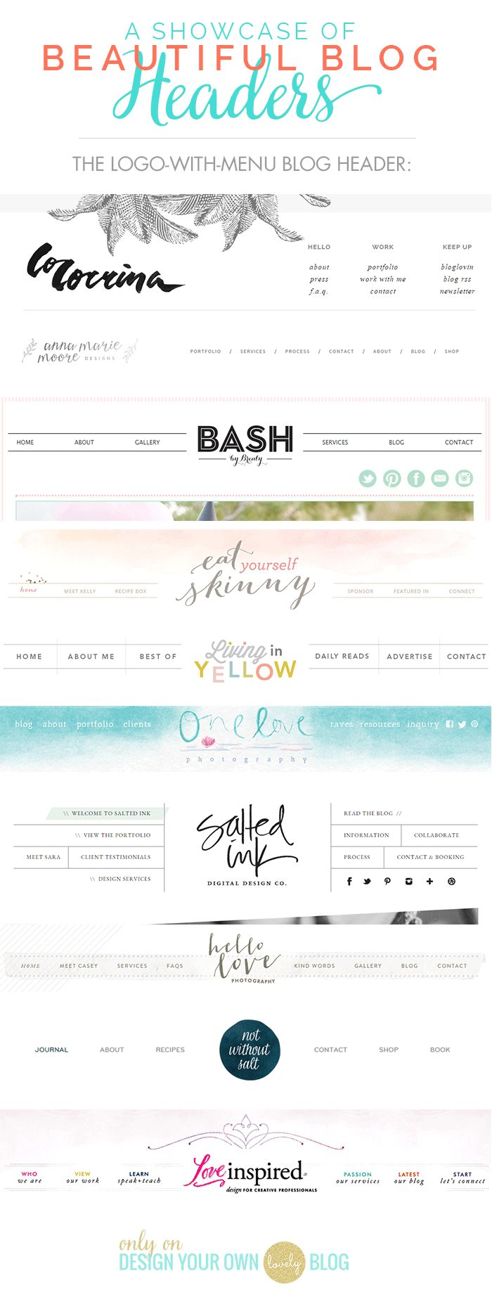 Beautiful blog headers balanced with logos and menu bars. See more blog header inspiration at DesignYourOwnBlog.com.