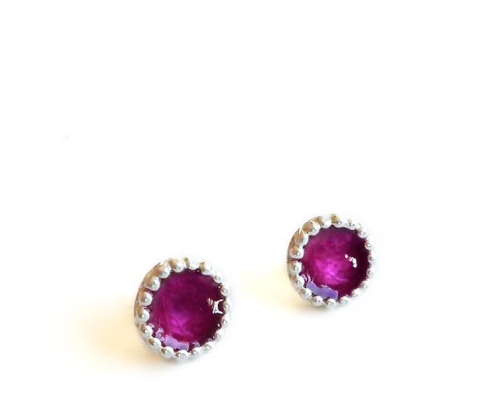 Sterling Silver Purple Resin Circle Stud Earrings -  Earrings 356 to 357 for EAD2015 by Maria Apostolou on Etsy
