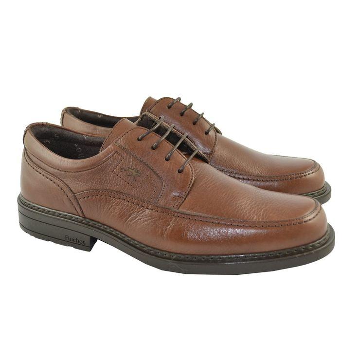 #Zapatos de Cordones en pieles Cidacos en colores cuero y suelas de goma de confort con sistema shock absorber y cámara de aire de la marca española FLUCHOS.