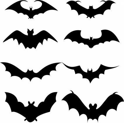 Set of bat silhouette