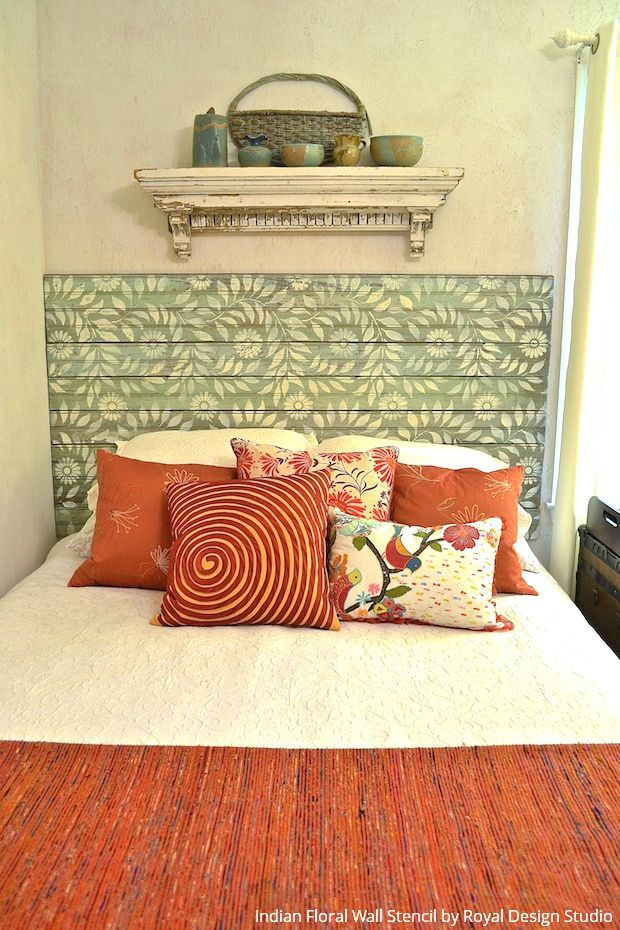 472 best stenciled and painted furniture images on pinterest for Painted headboard on wall
