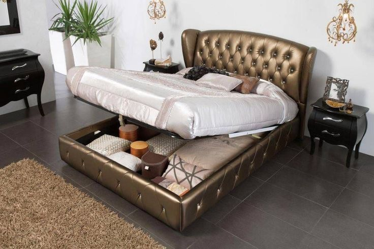 details about bronze leather bed with lift up storage and tufted headboard king - King Size Storage Bed Frame