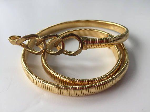 Snake Gold Metal Belt Serpentine Stretch Belt Size Small to