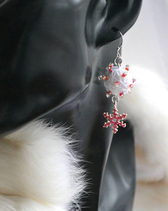 Earrings from Cotton Balls Christmas miracle от OlgaShestova
