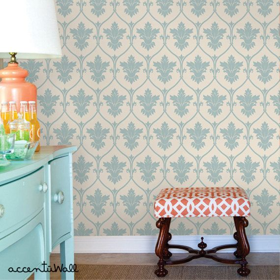 Damask Dusky Blue Peel & Stick Fabric Wallpaper by AccentuWall