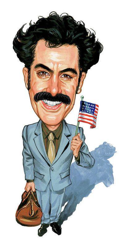 Borat Sagdiyev Art Print featuring the painting Sacha Baron Cohen As Borat Sagdiyev by Art