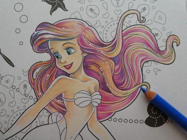 完成 色鉛筆でアリエルの塗り過程 メイキング 紹介です アートぬりえarielより 塗り絵日記 ディズニー キャラクター 書き方 招待状 返信 イラスト 色鉛筆