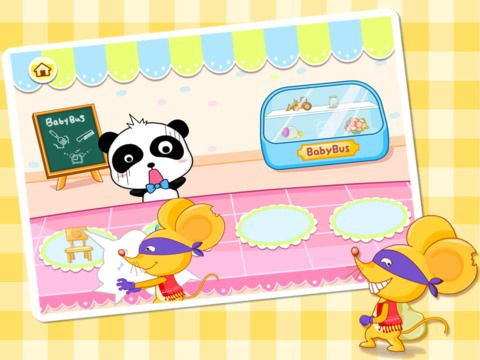 Magic paintbrush - https://itunes.apple.com/cn/app/shen-qi-hua-bi-hd-bao-bao/id552859811?mt=8  This game help children master some simple introductory painting techniques. It begins with an interesting story : A bad guy destroys a panda's shop store and you should help the penda to find her things and repair them
