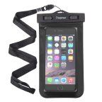 """Insten Black Waterproof Bag Carrying Case Pouch (6.5"""" x 3.9"""") with Lanyard & Armband for iPhone 7 6 6s Plus SE Samsung LG HTC Microsoft Nokia Motorola Alcatel ZTE Huawei Asus Universal - up to 3 meter"""