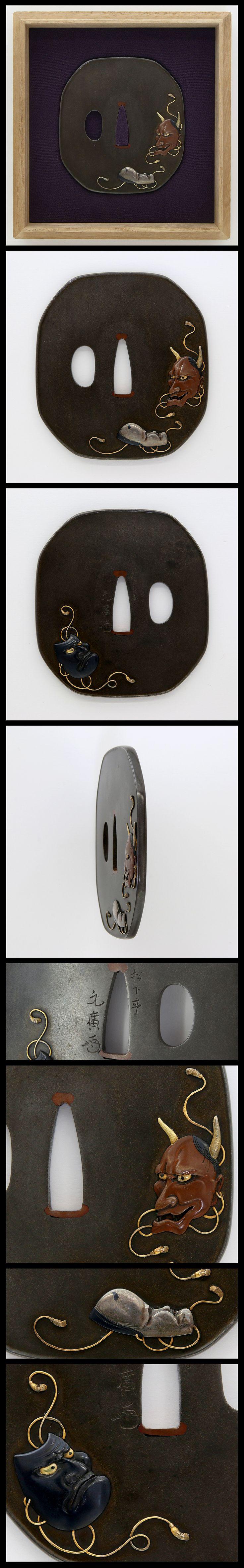 Edo On octagon silver polished Tsuba, Japanese Nou masks (Hannya, Okame and Beshimi) are engraved with gold, silver, Shakudo and Suaka color.