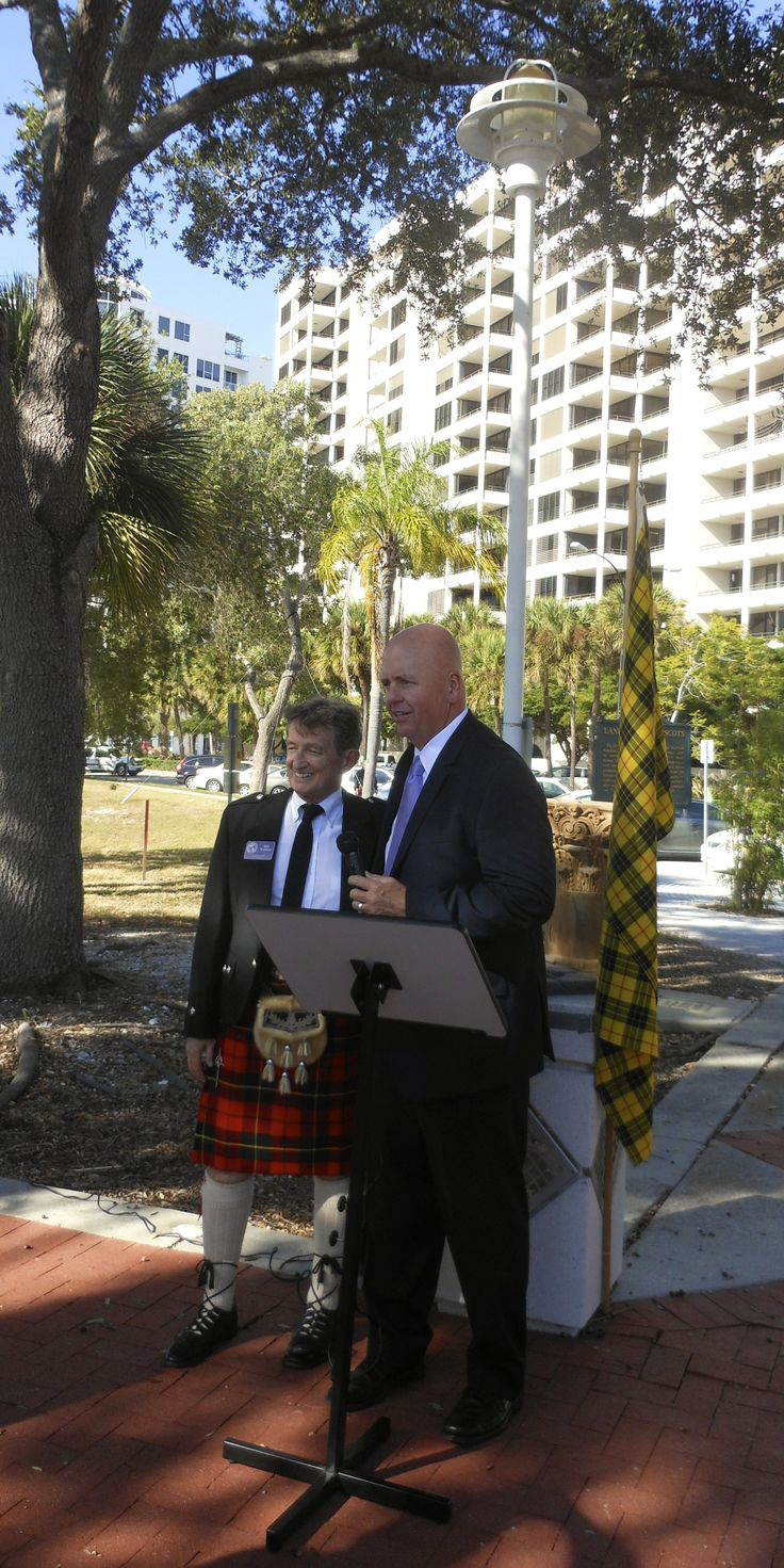City of Sarasota Mayor Shannon Snyder conducted Dec. 6, 2013 dedication ceremony with members of the Caledonia Club of West Florida & Sister Cities Assn of Sarasota at the point of landing in 1885 of the Scot founders of the City of Sarasota
