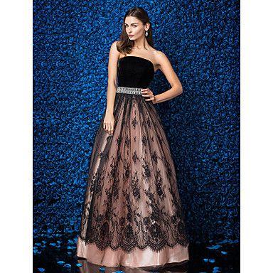 regresso a casa vestido de noite formal - pérola vestido de baile rosa strapless do assoalho-comprimento do laço / veludo – BRL R$ 647,66