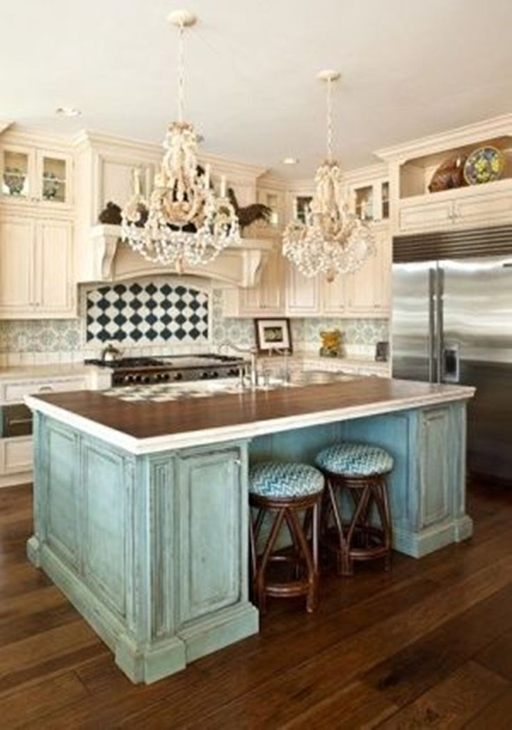 Shabby Chic Kitchen Ideas With Large Island With Two Stools And Double Chandelier