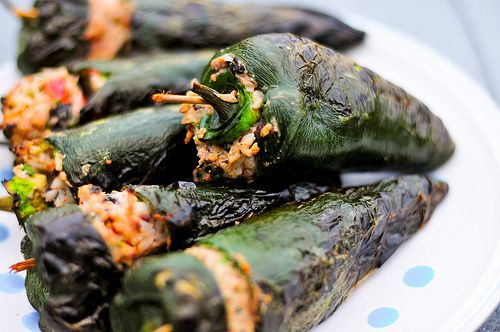 Stuffed Poblanos with Black Beans and Cheese on the grill.