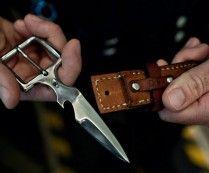 Leather Belt Knife Buckle - Camping Knife