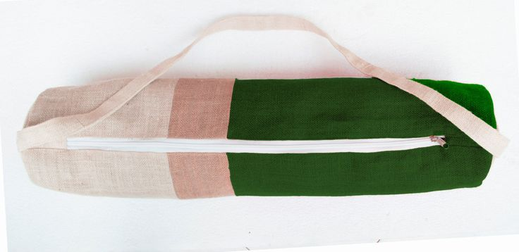 Personalized Yoga Bag - Green Burlap Color Block Yoga Bag- Yoga Tote- Yoga Mat Sling- Green Beige Cream Yoga Bag- Yoga Backpack Accessories