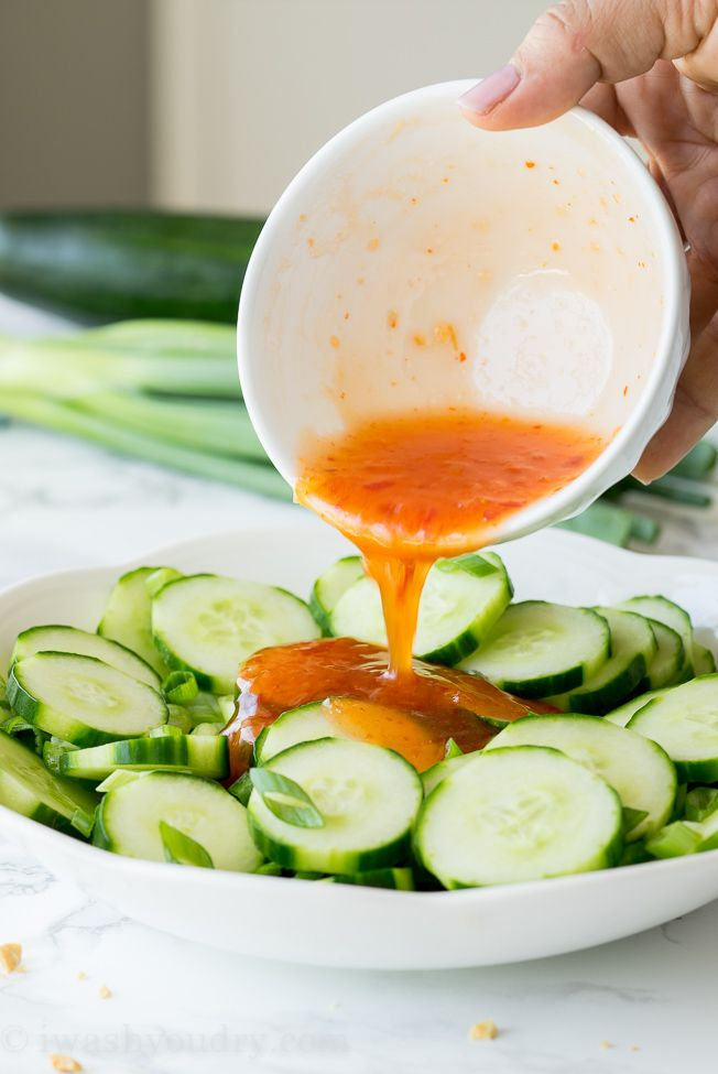 This Crunchy Thai Cucumber Salad is cool and crisp, with a slightly sweet and spicy dressing. This goes perfectly with grilled chicken, fish or steak!