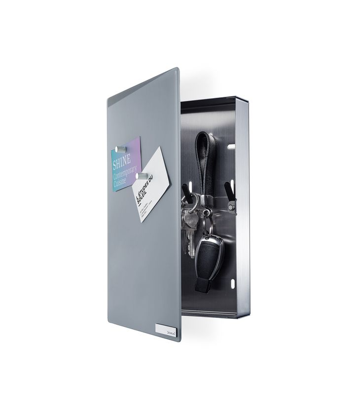 VELIO The VELIO Glass Magnet Board W/Key Box - Gray has been immediately approved by locksmiths. Its front door is a pane of glass with a magnetic surface. The glass surface produces a shiny, white vi