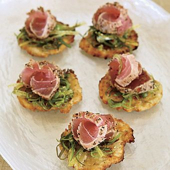 Brides: Tuna Carpaccio and Seaweed Salad. Fresh seafood creations, like these hors d'oeuvres of tuna carpaccio and seaweed salad on potato blinis, were on the menu created by Alan Perl for The Ultimate Caterer in Marlboro, NJ.