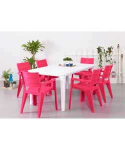 Buy Futura Pink and White 6 Seater Patio Set at Argos.co.uk - Your Online Shop for Garden table and chair sets.