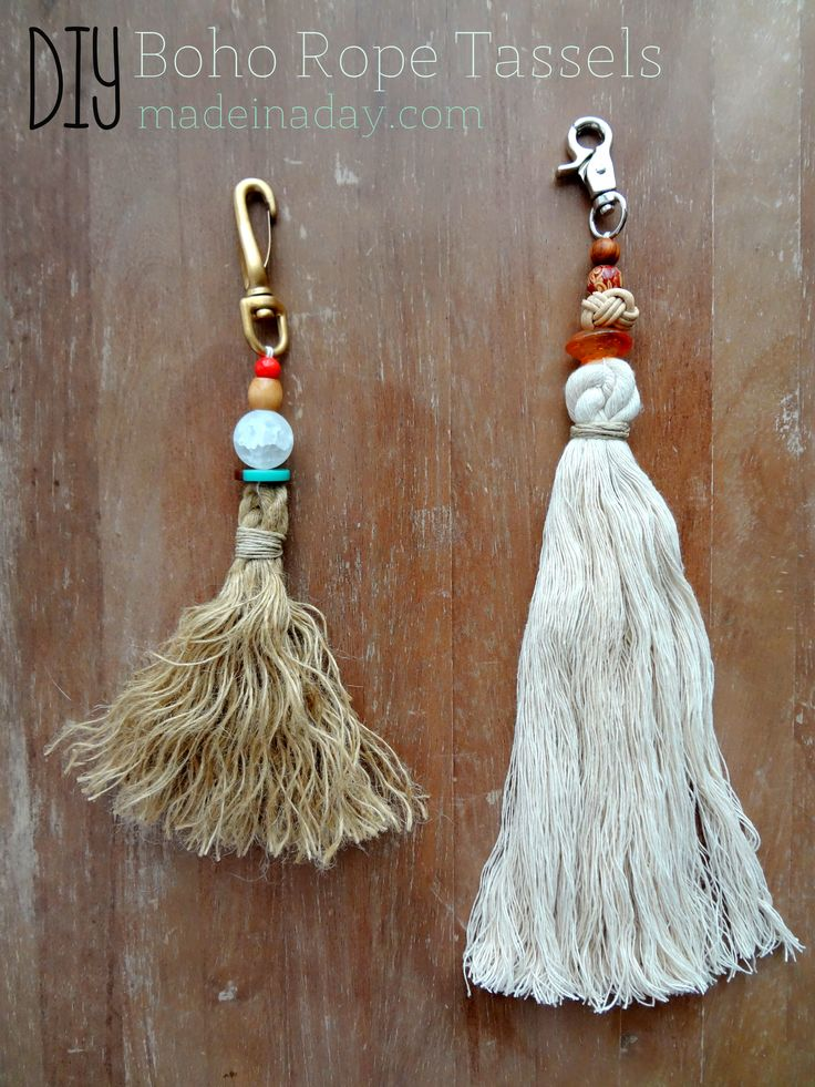 DIY tutorials, Bohemian rope tassels, #anthrohack, burlap jute tassel, palo alto knockoff, DIY tassel keychain, boho tassel and fringe purse upholstery cord