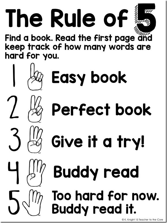 "*** Freebie Poster *** How to choose ""Just Right"" books for kindergarten through first grade emerging readers"