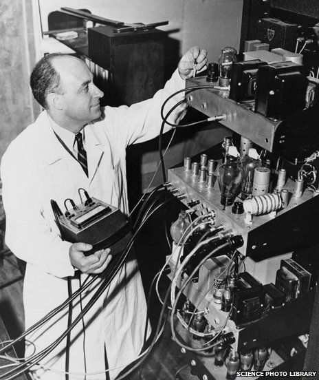 "Enrico Fermi with electronic equipment for the University of Chicago's particle accelerator. In 1942 a team from the American Manhattan Project, led by the Italian physicist Enrico Fermi, built the world's first nuclear reactor on the floor of a squash court on the campus of the university of Chicago. It was known as ""Chicago Pile-1"" and Fermi used it to create the first self-sustaining chain reaction."