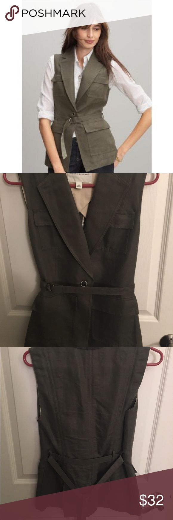 Banana Republic Safari Cargo Vest with Belt Great for a put together look! The added bonus of a belt can really accentuate your waist. Comes with lots of pockets for extra storage! Marked tan and green for colors, but it's really more of an olive color. Banana Republic Jackets & Coats Vests