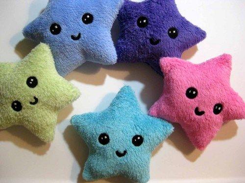 Cute Star Plush Plushie - HAPPY STAR - Kawaii face.     Nancym4 - Dolls & Miniatures on ArtFire