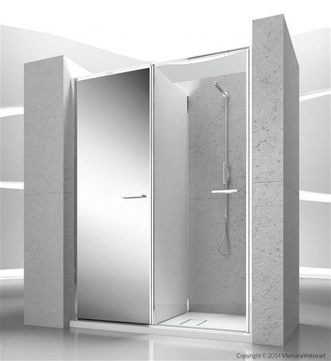 Twin collection by Vismaravetro #spazioutile Modello T10 Apertura battente, Installazione in NICCHIA