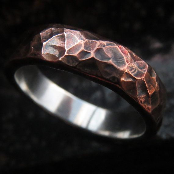 SALE Mens wedding ring rustic copper and sterling silver wedding band size US 9.5 unique ring steampunk ready to ship