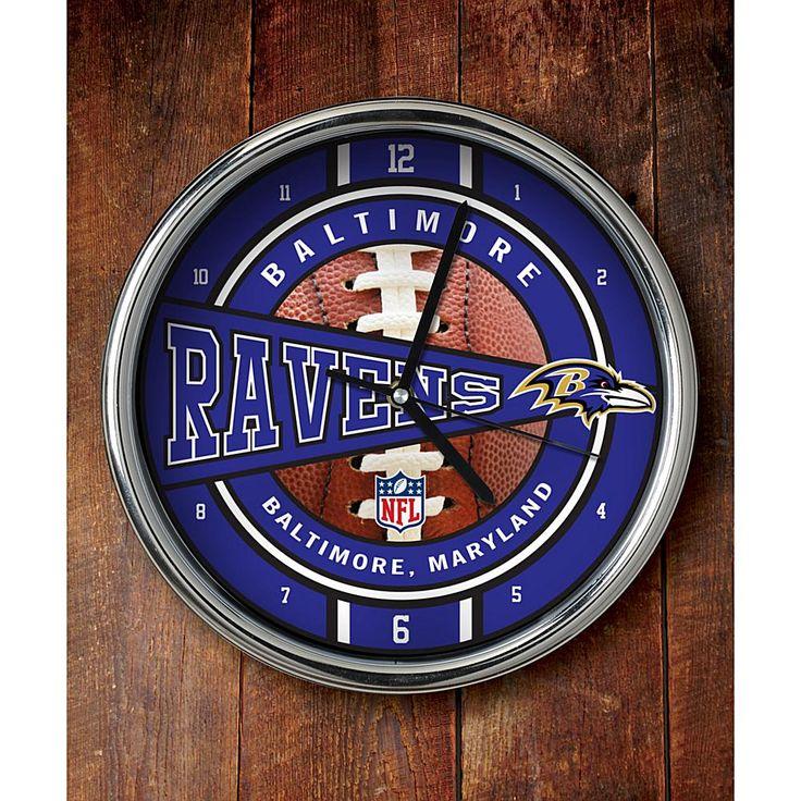 Officially Licensed NFL Chrome Clock - Ravens