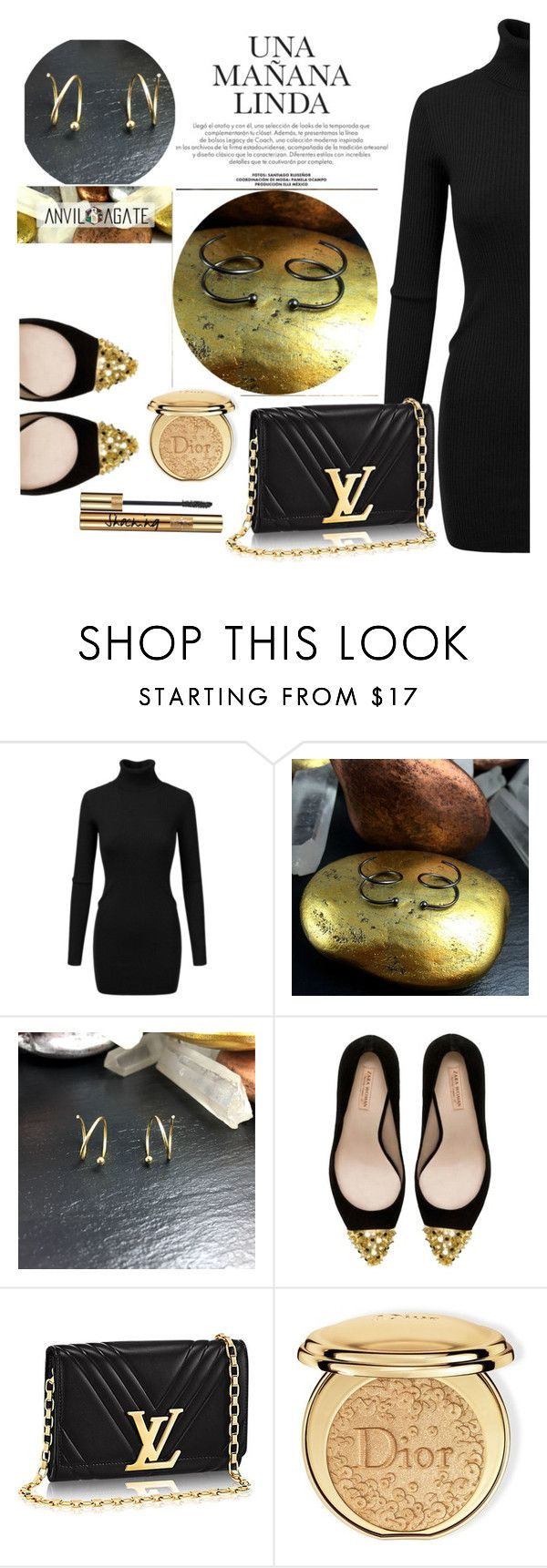 """""""ANVIL AGATE -Double Piercing Earrings"""" by selmir ❤ liked on Polyvore featuring Doublju, Zara, Christian Dior, Yves Saint Laurent, jewelry and anvilagate"""