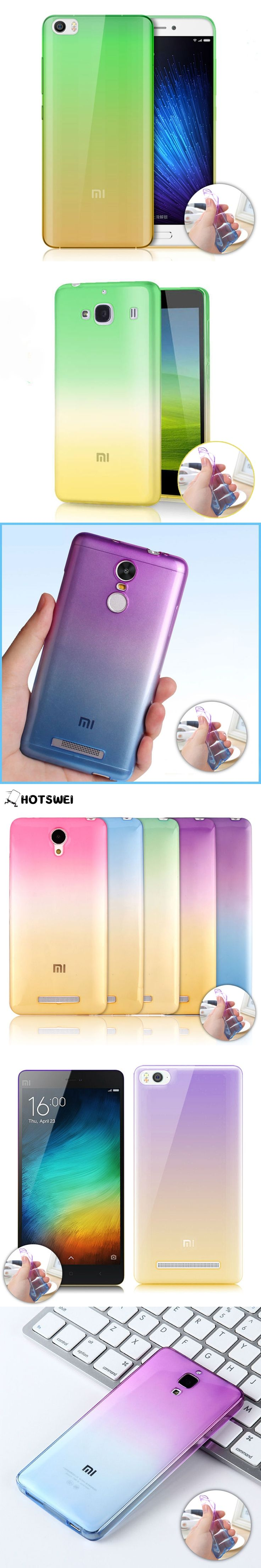For Redmi Note 2 Note 3 Redmi 2 NEW Gradient Colors Soft TPU Case for Xiaomi Mi4 MI4C Mi4i Mi3 Mi5 Ultra Thin 0.3mm Phone Cover