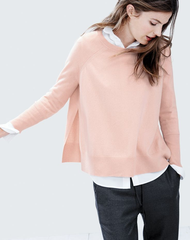 like color and overall outfit. J.Crew women's side slit cashmere sweater and drapey sweatpant.
