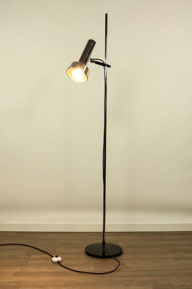 Staff Boden Leuchte Strahler Spot Steh Lampe Chrom Modell L401