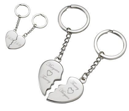Personalized Silver Magnetic Broken Heart Keychain Engraved Free Valentines Gift For Her Great little keepsake. Magnets snap each side of the heart together. Can be engraved with up to four words on each side! Choose from any font style shown to the left of the product picture.