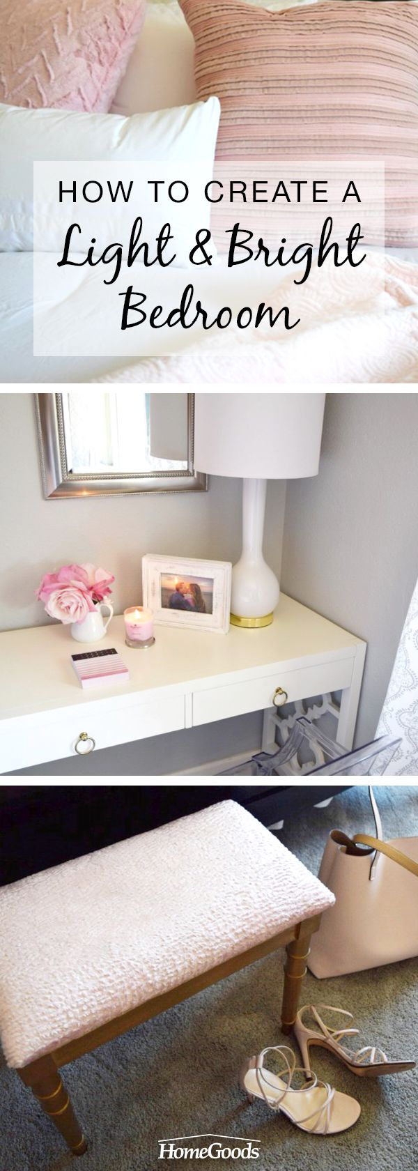 White bedding is clean, crisp, timeless and has an inherent hotel quality. Plus it's a great canvas for seasonal changes. Here blush, florals and luxe textures create a romantic escape. Lighten up your bedroom with these stylish seasonal tips from HomeGoods.