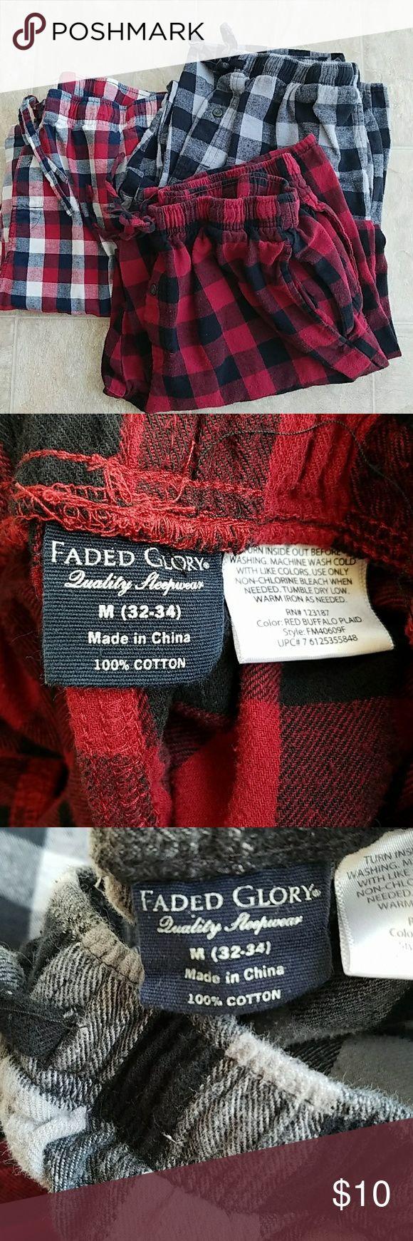 Lot of 3 Men's flannel pajama pants 3 pair of men's size medium flannel pajama pants Pants