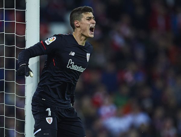 Kepa Arrizabalaga of Athletic Club reacts during the La Liga match between Athletic Club and Real Madrid at Estadio de San Mames on December 2, 2017 in Bilbao, .