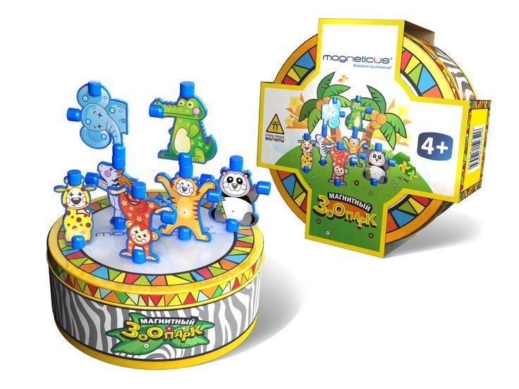 """Экзотические животные у Вас дома! Набор """"Магнитный зоопарк"""" включает в себя 7 фигурок забавных животных. Металлическая коробка является одновременно как игровой поверхностью, так и местом для хранения фигурок."""