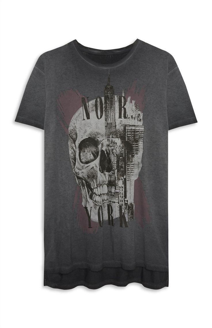 Grijs-zwart T-shirt met schedel