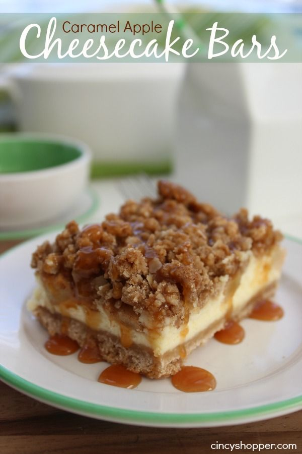 Caramel Apple Cheesecake Bars Recipe. Great for a dessert. I love it with my morning coffee.