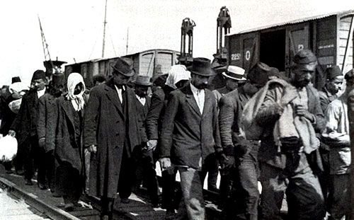 All men of military age were torn away from their wives and children and led away in groups for deportation to the interior. Smyrna 1922.