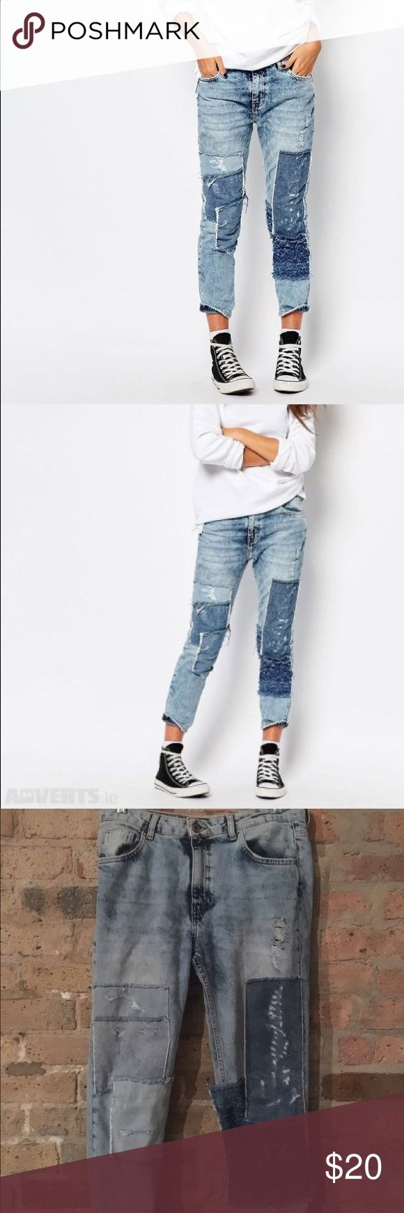 Pull & Bear patchwork boyfriend jeans Rarely worn; EU 36, USA 4 Pull&Bear Jeans Boyfriend