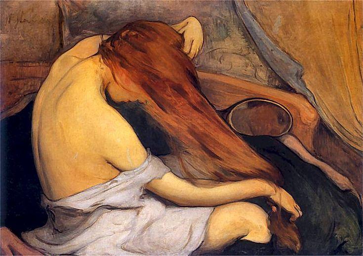 Czesząca się (Woman combing her hair) - Władysław Ślewiński (Polish, 1856-1918)