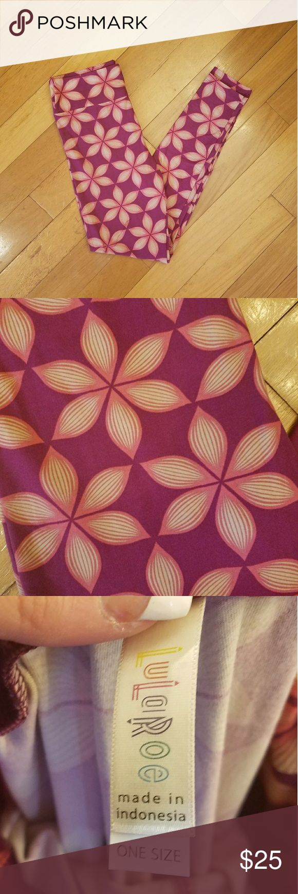Lularoe OS Leggings Brand NEW! Never worn never tried on. Buttery soft! Deep magenta background with pink and white flowers. Bright and pretty! Smoke free and pet free home. Original price includes tax. LuLaRoe Pants Leggings